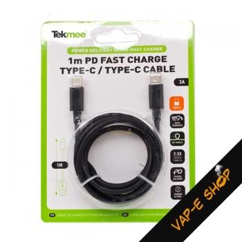 Câble USB Type C vers Type C - Noir