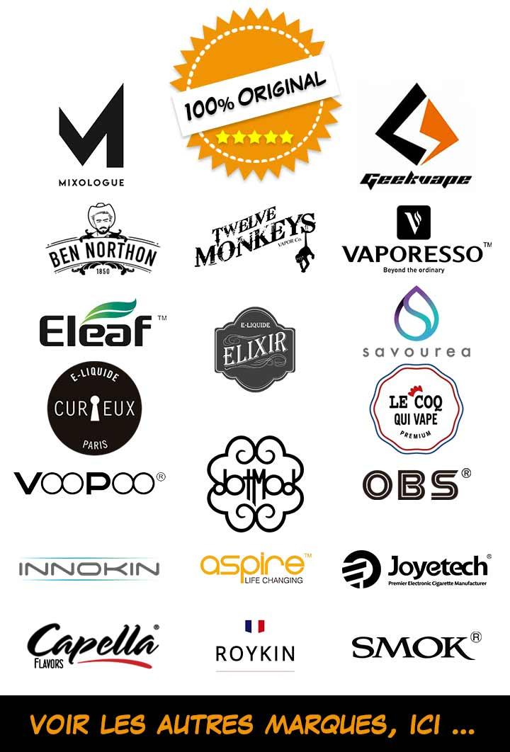Nos marques E-liquides et E-cigarettes